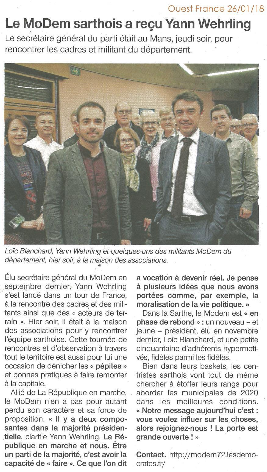 MoDem 72 - Presse - 2018.01.26 Voeux avec Yann WEHRLING